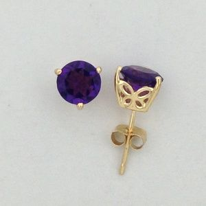 Jewelry - Natural Amethyst Earrings Solid 14kt Yellow Gold